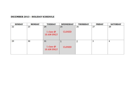 dec2013HOLIDAY SCHEDULE